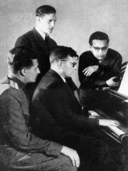 <p>With students Yevgeni Makarov, Herman Galynin, and…</p>