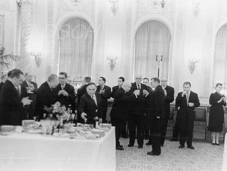 <p>Dmitri Shostakovich and Nikita Khrushchev during a…</p>