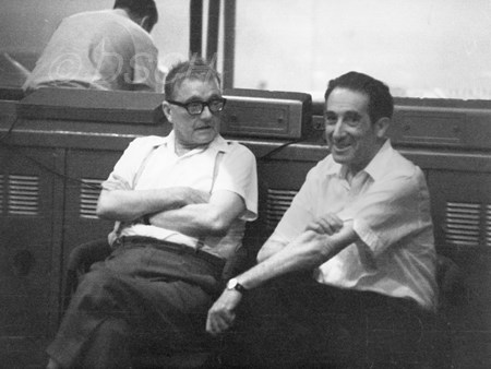 <p>Dmitri Shostakovich and Grigory Kozintsev on 28 Ju…</p>