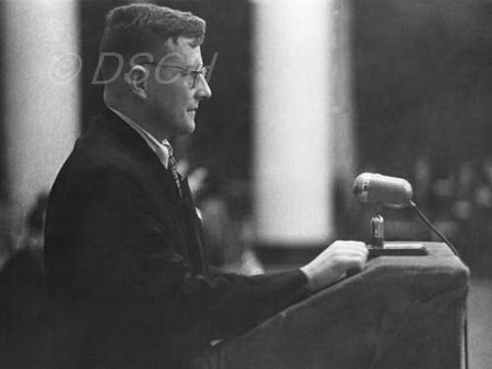 <p>Shostakovich speaks at the conference dedicated to…</p>